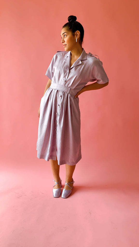 1980s Frosted lilac dress, sz. M