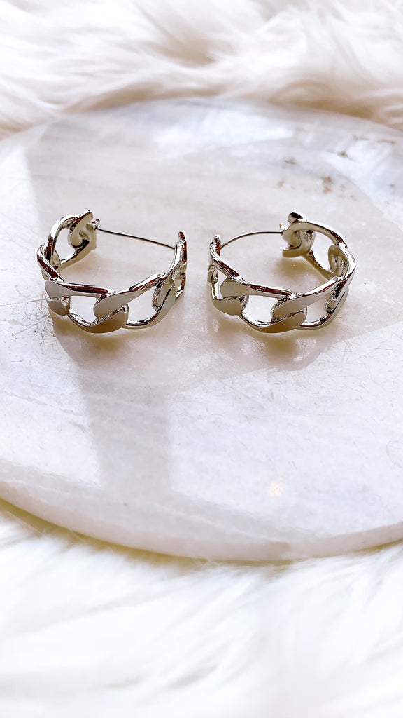 Anchor Link Hoop Earrings
