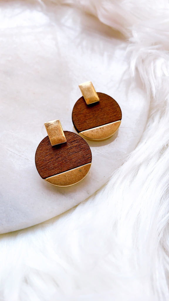 Geometric Wood and Metal Earrings