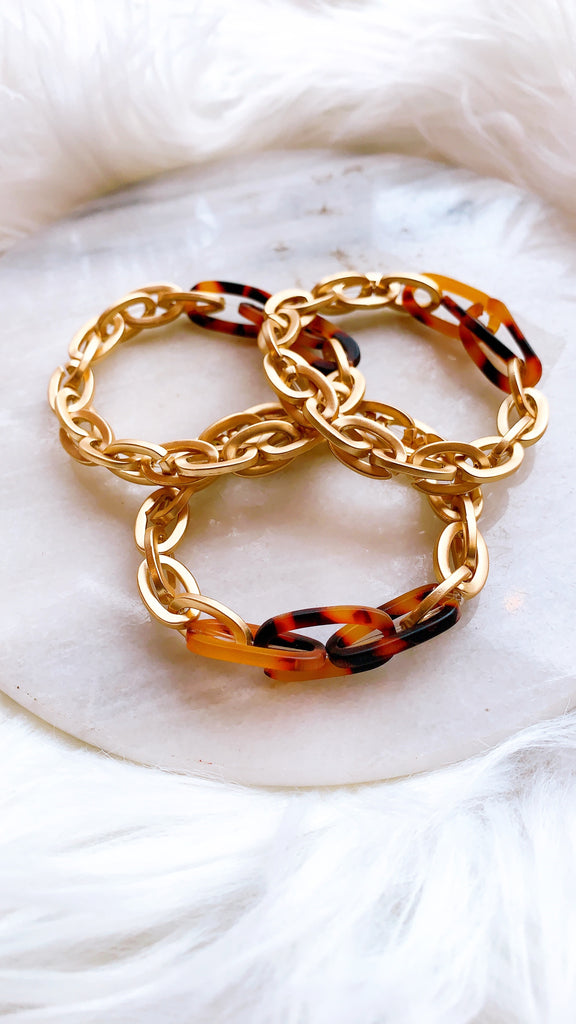Gold and Tortoise Chain Link Bracelet