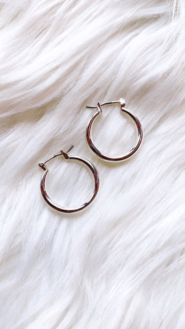 "1"" Silver Hoop Earrings"
