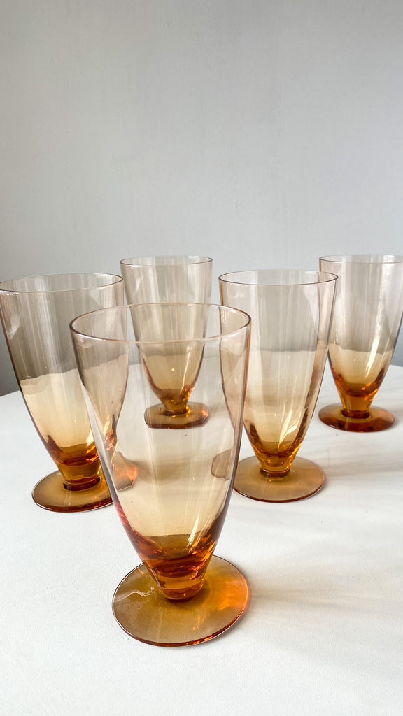 1970s set of 5 Amber Colored Glasses