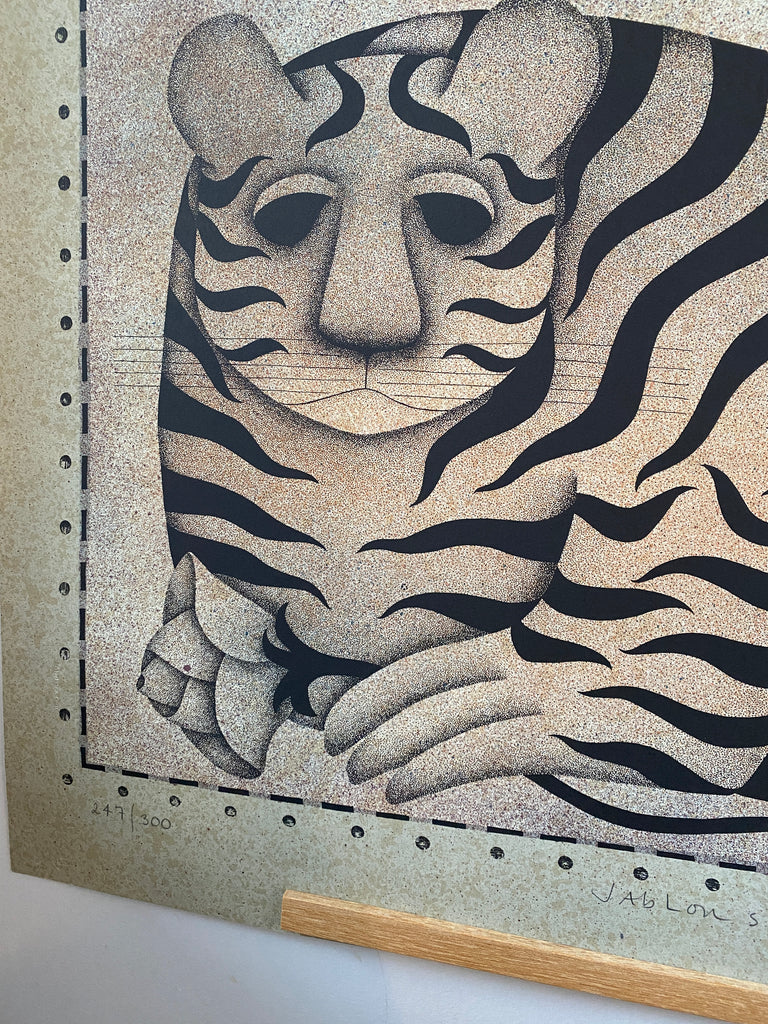 1981 Tiger & Rose Lithograph By Carol Jablonsky