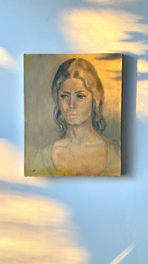 1970s Oil Painting of a Woman