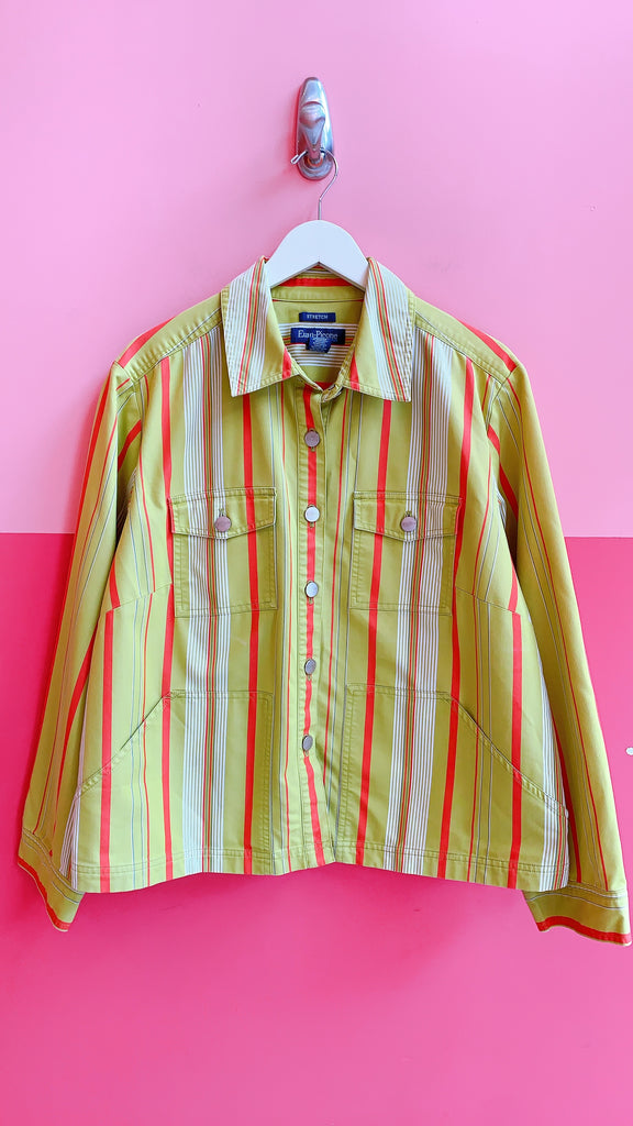 1990s Evan watermelon striped jacket, sz. 1X-2X