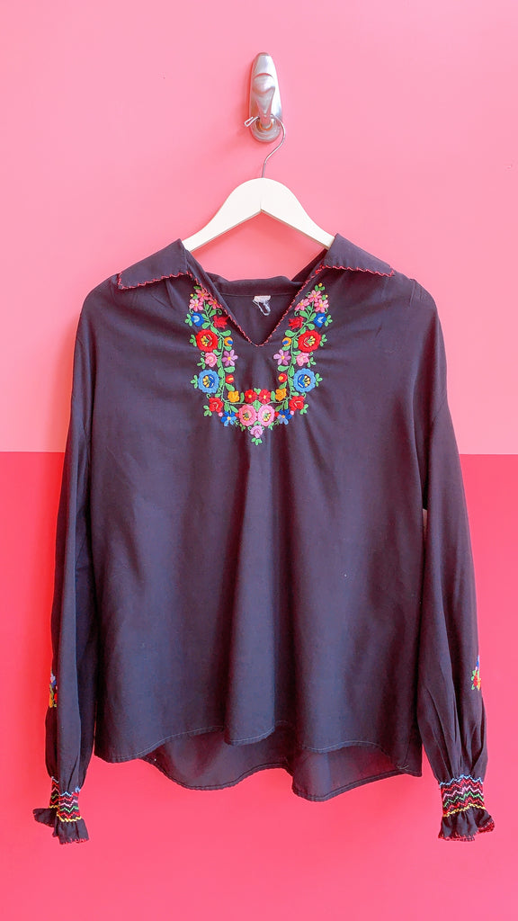 1970s Far out flower top, sz. S/M