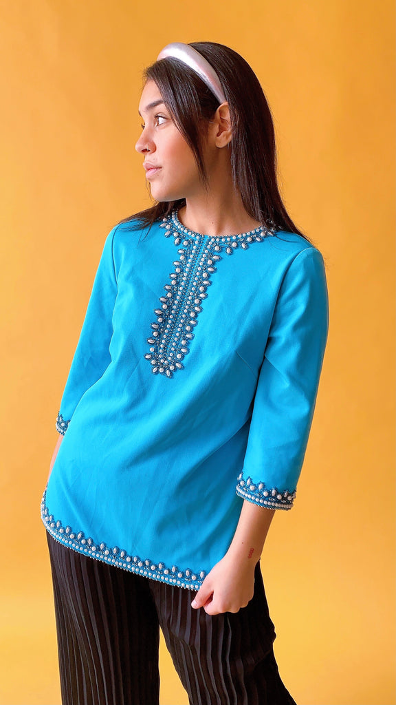 1960s Teal dream tunic, sz. L