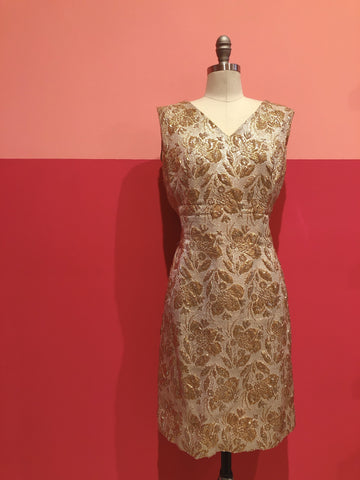1960s Gold Floral Quilted Raised Pattern Dress