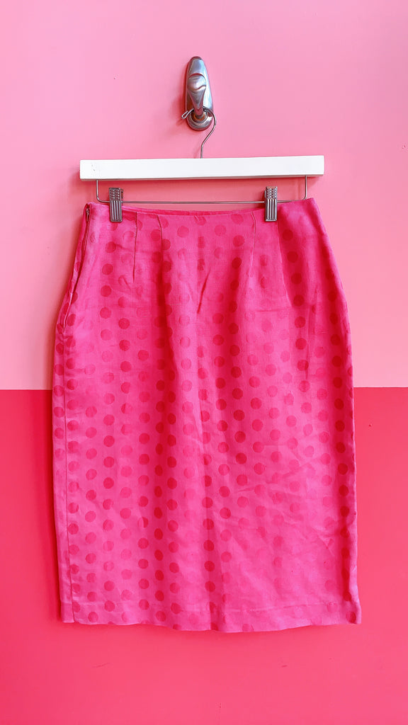 1980s Pink Polk A dot pencil skirt, sz. S
