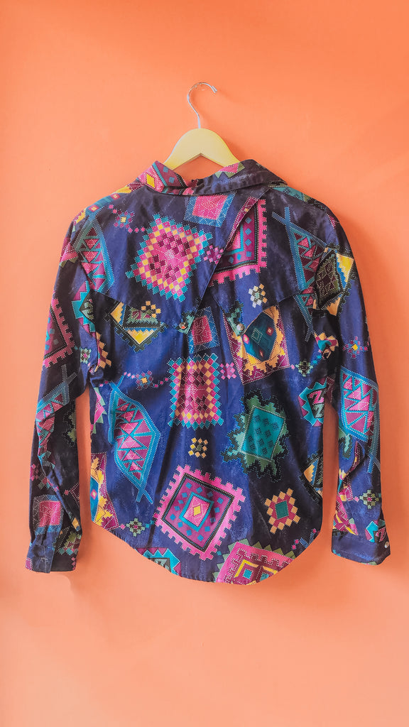 1990s Roughrider snap-up blouse, sz M