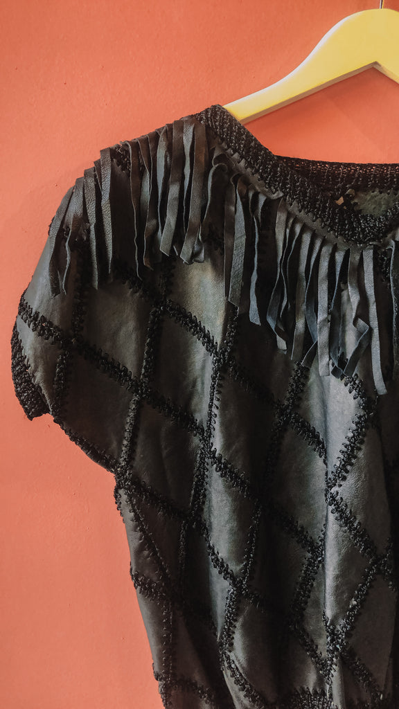 1980s Leather & fringe top, sz. L