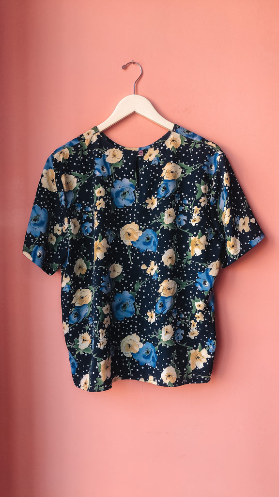 1990s Baby blues floral top, sz. M