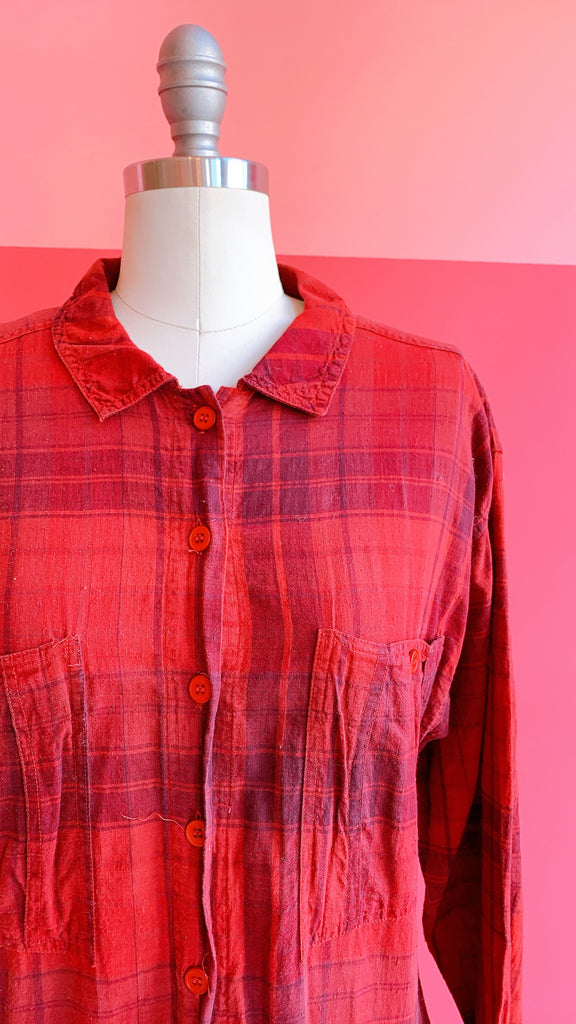 1970s Red Flannel Dress, sz. L