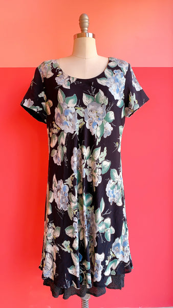 1990s Blue Floral Mini Dress, sz. M/L