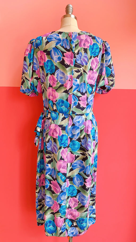 1980s Awesome blossom silk dress, sz. M/L