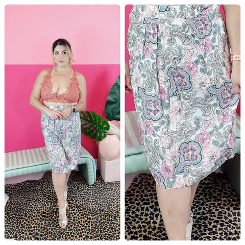 90s Florence Floral Skirt Size: L