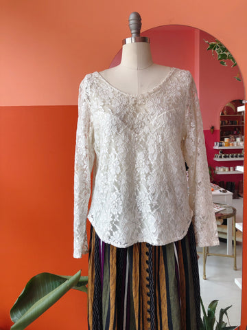 1990s Lace Sweetheart Top