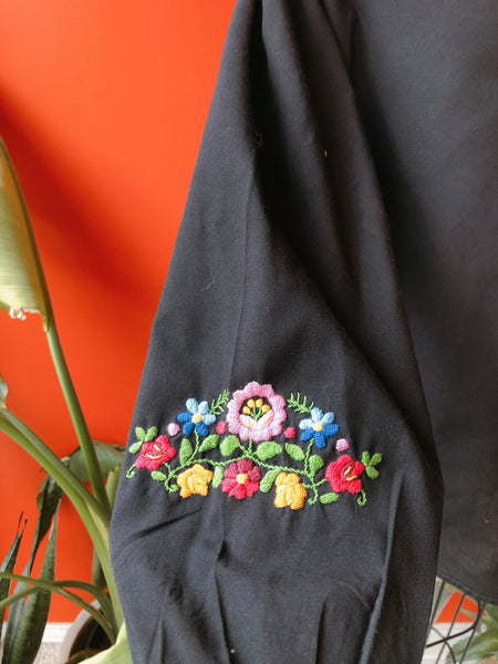 1970s  Black Floral Embroidered Tunic