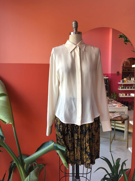 1990s Silk Ivory Blouse