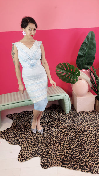 1950s Blue Lace Wiggle Dress- Sz. S