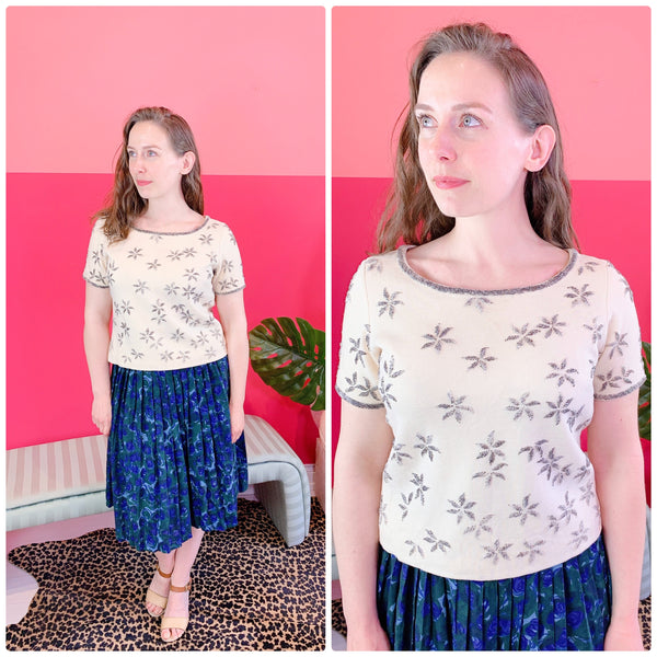 1960s Silver Beaded Crop Top sz M/L