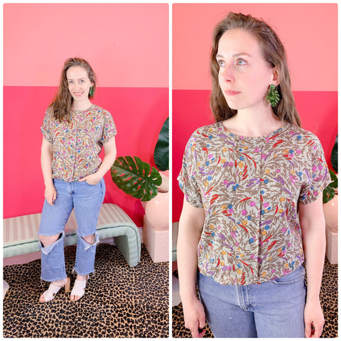 1980s Flowers in Abstract Top sz M/L