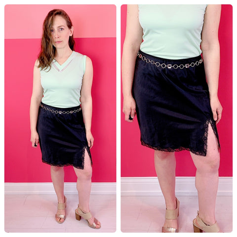 90s Black Slip Skirt - sz M