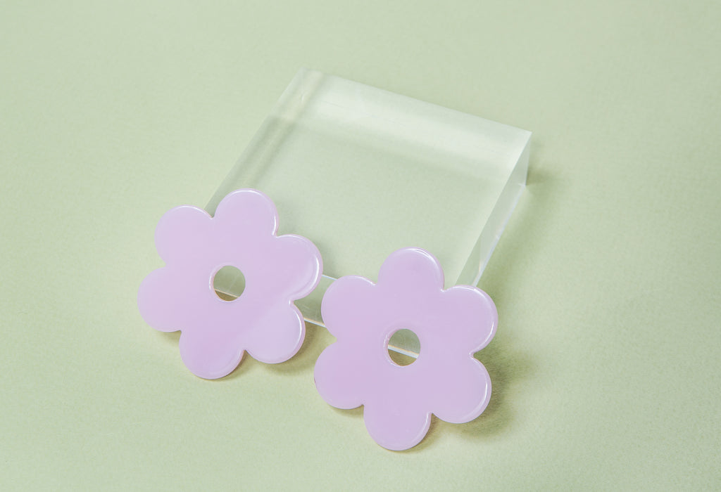 Large Lilac Acetate Daisy Earrings