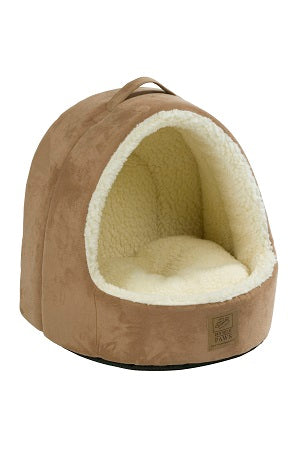 Hooded Tan Suede/Sheepskin Bed