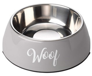 New Woof Grey Dog Bowl