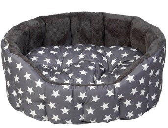 NEW Grey Star Oval Dog Bed