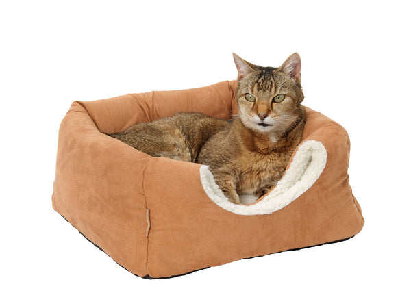Tan and Fx Sheepskin 2 in 1 Cat Bed Tan