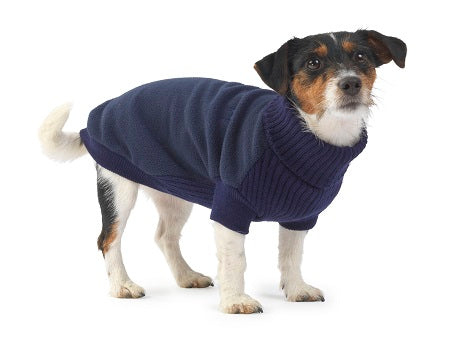 Fleece and Knit Jumper Navy