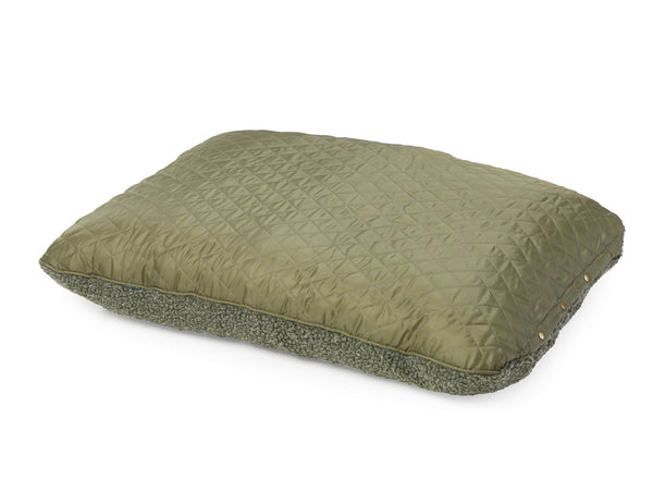 Country Quilted & Fleece Cushion Bed Green