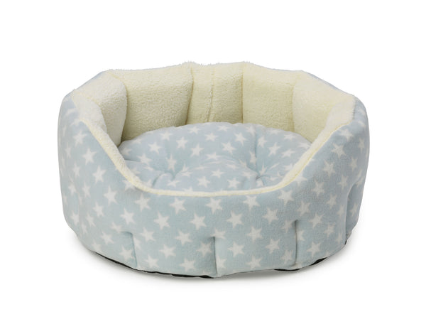 Fleece Star Snuggle Oval Puppy Bed Blue