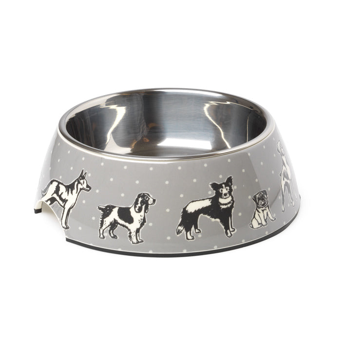 Polka Dogs Grey Bowl