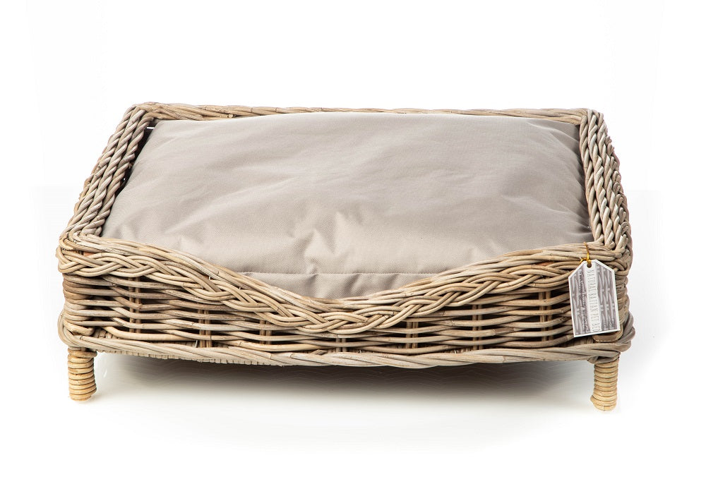 Rattan Square Dog Bed With Cushion by House of Paws