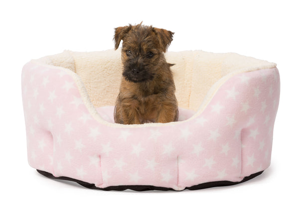 Fleece Star Snuggle Oval Puppy Bed Pink
