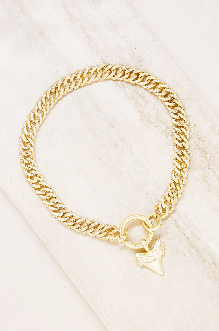 Into The Deep Gold Shark tooth Choker Necklace