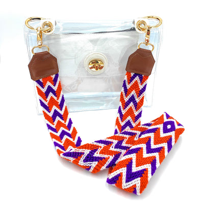 Clemson University Skinny Strap + Clear Stadium Bag