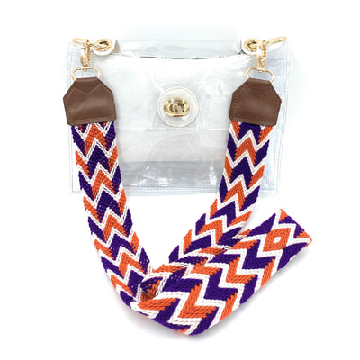 Clear Stadium Bag with WHITE Accents (STRAP SOLD SEPARATELY)