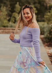 Racheal Basic Off The Shoulder Cropped Sweater