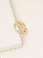 Crystal and Gold Chain Link Ring