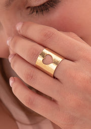 Heart Cut Out Golden Ring