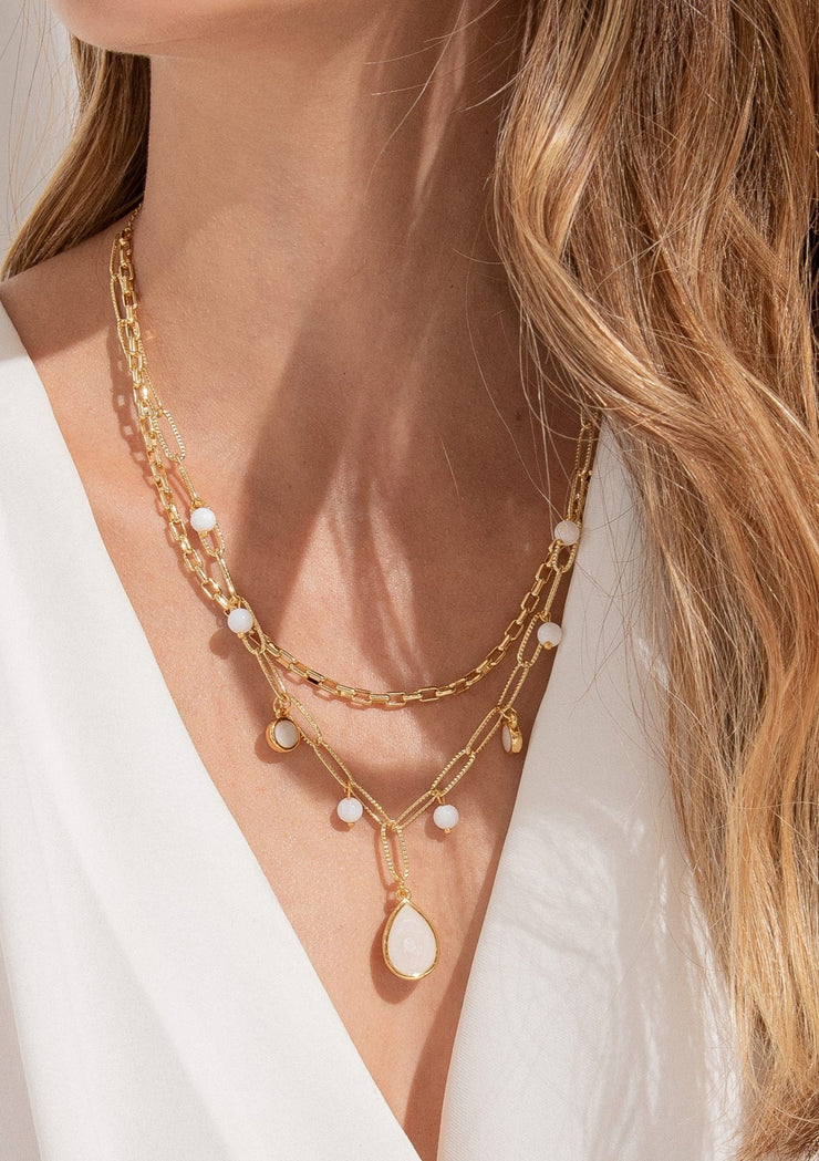 Gold Tear Drop Layered Necklace
