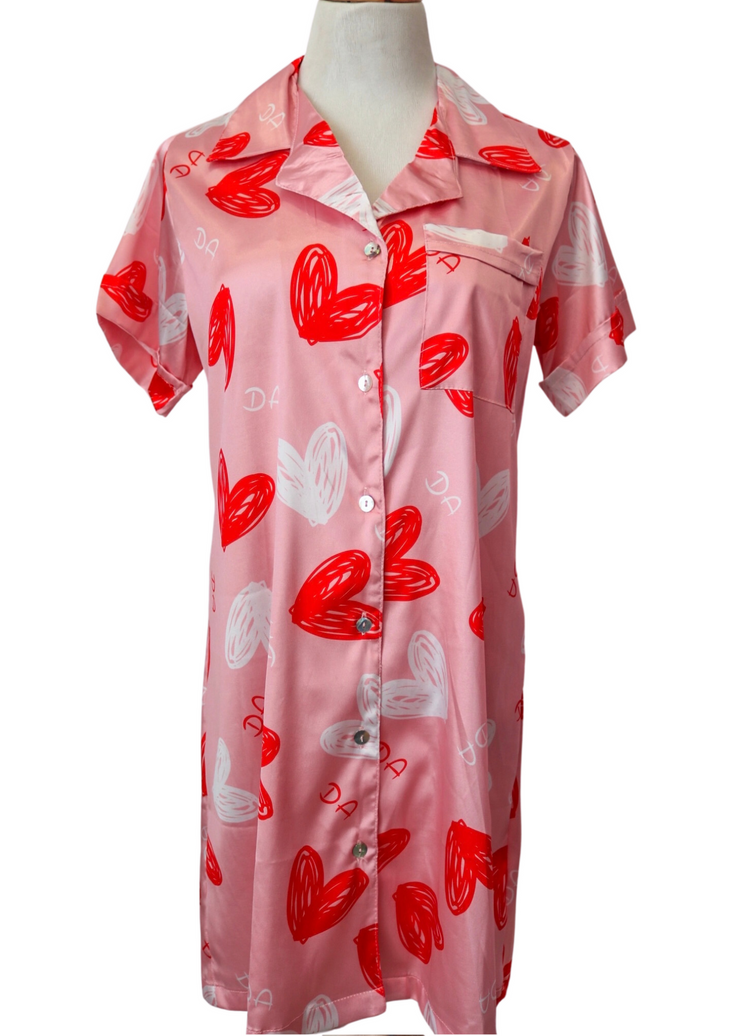 Full of Love Pajama Sleep Dress