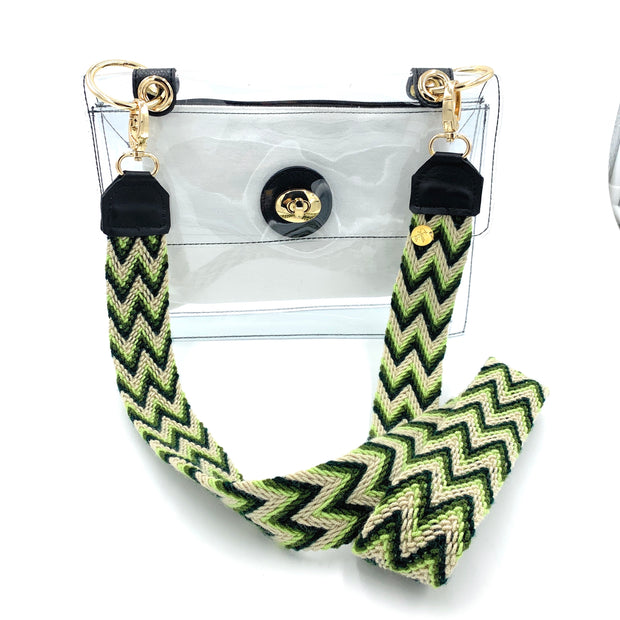Green Skinny Strap + Clear Stadium Bag