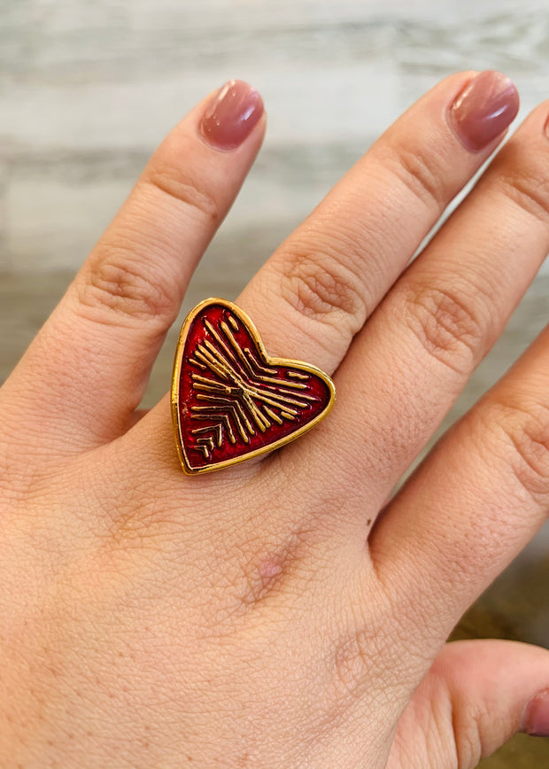 Heart Print Hand Painted Ring