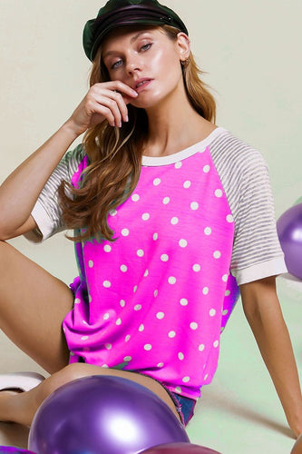 Striped Poka Dot Top