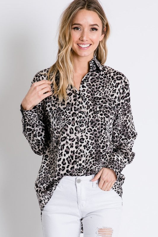 Animal Button Down Top